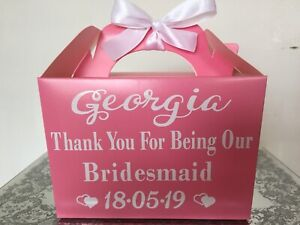 Details About Thank You Bridesmaid Gift Box Personalised Wedding Present Bag Any Name Colour