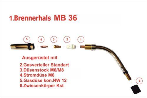 Brennerkörper MIG//MAG Brennerhals MB 36 360 mit Verschleißteile