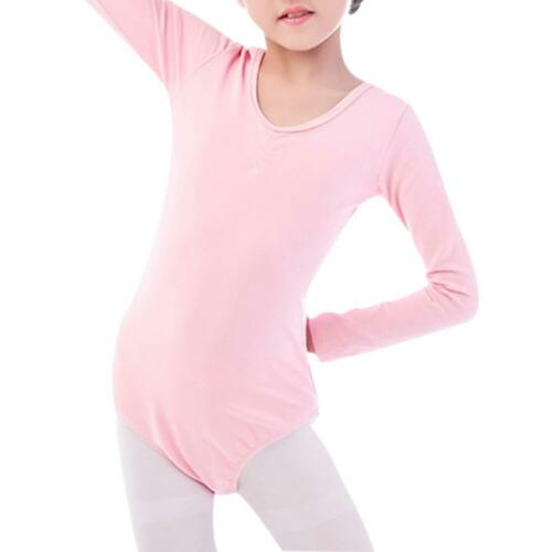 Children Girl Ballet Bodysuit Long-Sleeves Dance Leotard Jumpsuit Dancewear