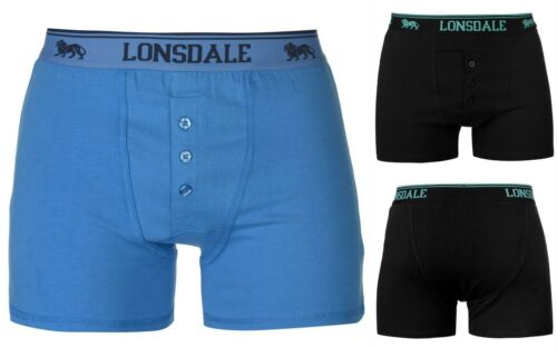 MENS Blue//Black  2 PACK LONSDALE BOXER SHORTS UNDERWEAR  M L XL XXL Limited Ed