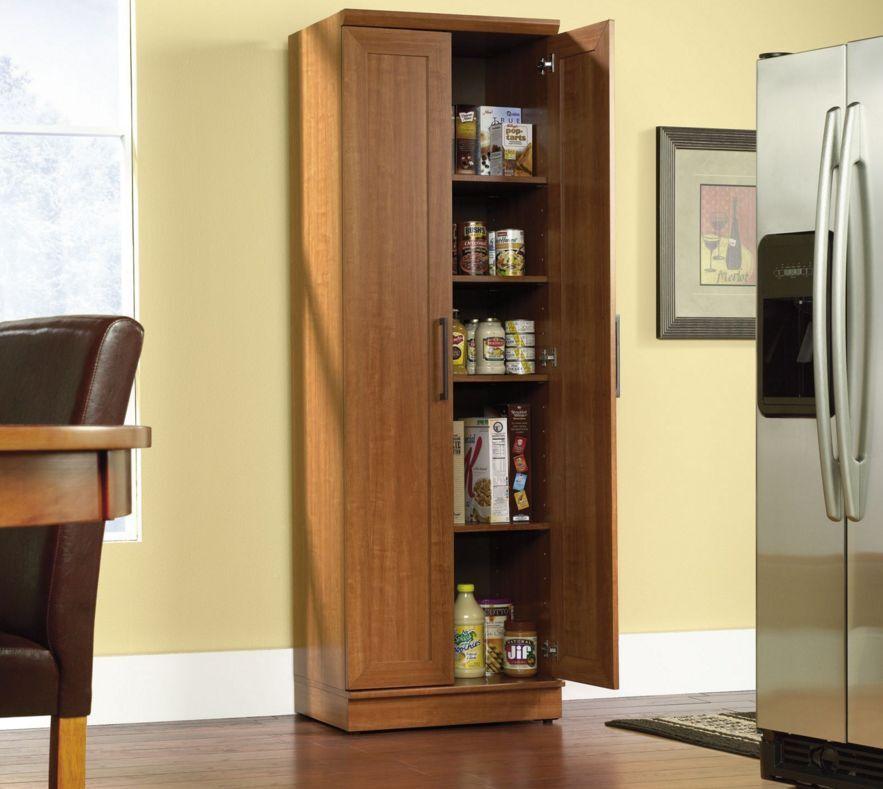 Tall Kitchen Cabinet Storage Food Pantry Organizer Wooden Shelf Cupboard  Shelves