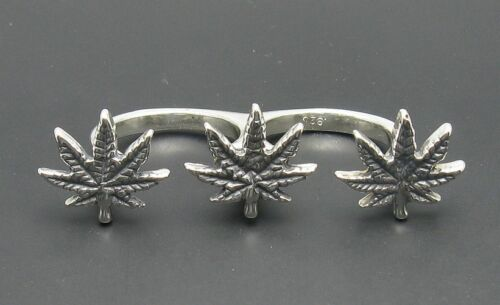 R000977 STERLING SILVER Ring For Two Fingers Solid 925 Cannabis Adjustable size