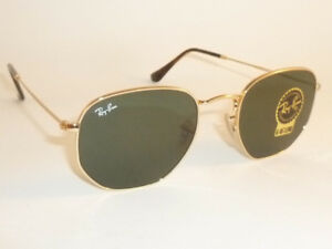 New RAY BAN Hexagonal Flat Sunglasses Gold Frame RB 3548N 001 G-15 ... cb020b6bc249