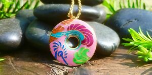 Beautiful-Enamel-And-Gold-Plate-Retro-Pink-Pendant-Necklace-Bohemian