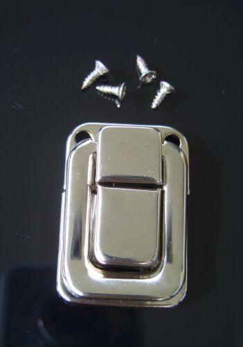Spannverschluss Schnappschloss 37 mm silber Metall m Schrauben Kiste Schatulle