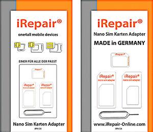 Nano Sim Karte.Details Zu Nano Sim Karten Adapter Set Made In Germany Micro Sim Standard Für O2 Sim Karte