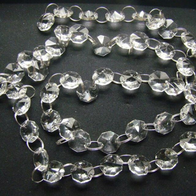 1m Clear 14mm Octagon Glass Beads Crystal Chandelier Chain Part DIY Supplies