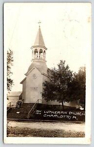Charlotte-Iowa-Bell-in-Octagon-Belltower-Immanurel-Lutheran-Church-1915-RPPC