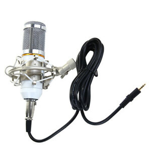 Wired-Microphone-with-Metal-Shock-Mount-Computer-DJ-KTV-Anchors-Accs-White
