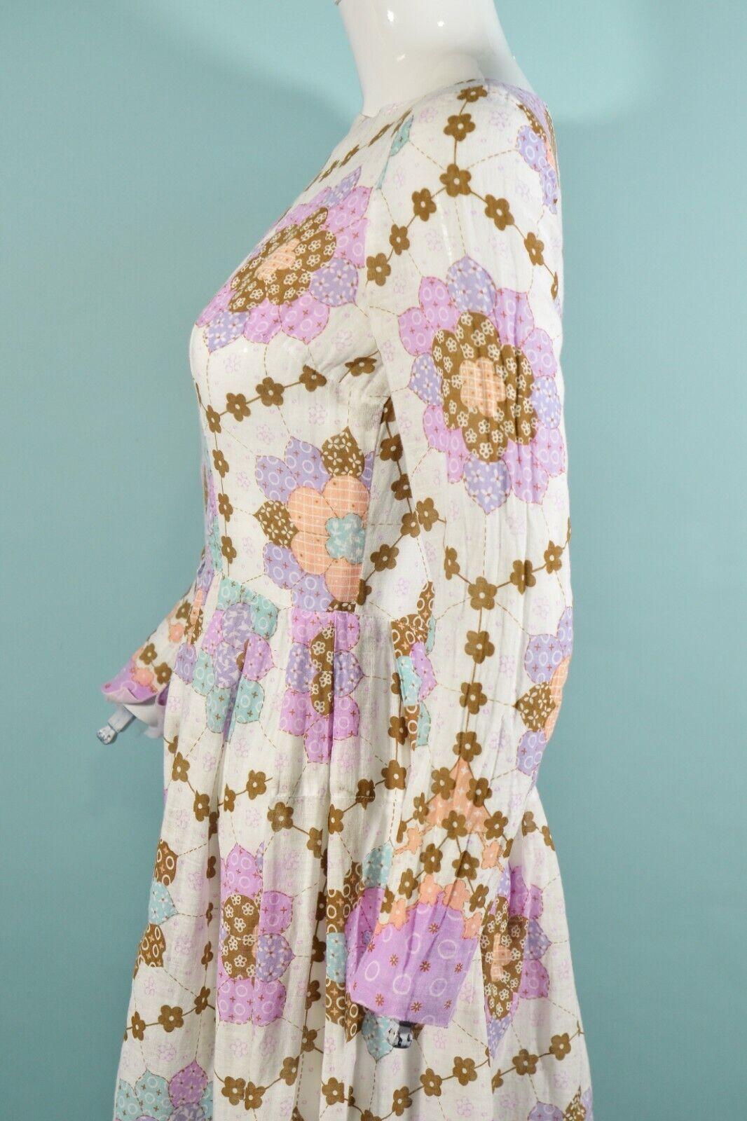 Vintage 60s/70s Faux Patchwork Hippie Dress, Cott… - image 8