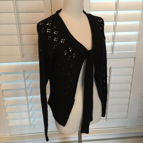 cardigan medio con Crochet Weave Cardigan Open M Etcetera Womens Black Tie 80Wzq