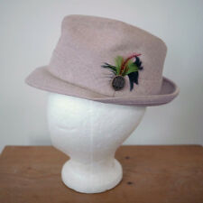 Vintage 50s Khaki Linen Colored Feather Trilby Fedora Hat 6 7/8 USA Union Made
