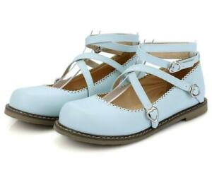 New-Ladies-Lolita-Fashion-Flats-Round-Toe-Cross-Strappy-Buckle-Metal-Decor-Pumps