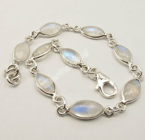 925-Silver-RAINBOW-MOONSTONE-Cabochon-Fashionable-ADJUSTABLE-Bracelet-7-7-8-034
