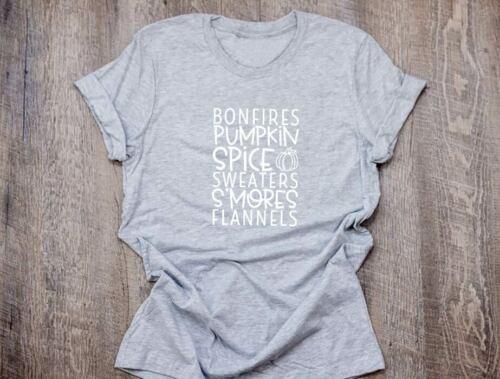 Unisex Funny T-Shirt Bonfires Pumpkin Spice Tee Printed Shirt Casual Tee Tops