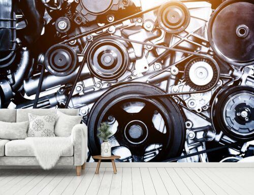 3D Car Parts Machine B329 Transport Wallpaper Mural Self-adhesive Removable Wen