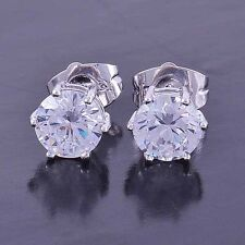 White Gold Plated Mens Womens Kids Jewelry Round Crystal Stud Hip Hop Earrings