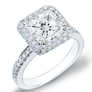 3 11 Ct Princess Cut Halo Micro Pave Diamond Engagement