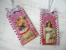 Vintage Image Glittered CHRISTMAS Ornament - Gift Tag Set Victorian Angels