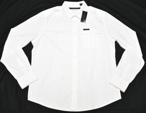 Sean John Button Down Shirt Men/'s Logo Pocket Woven White Urban Streetwear P296