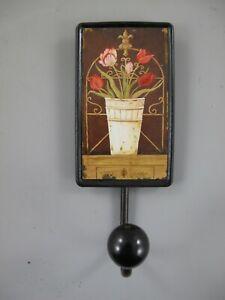 9977671-x Vintage Wand-Haken Garderobe Tin Sign Flower Pot Tulips 12x7cm