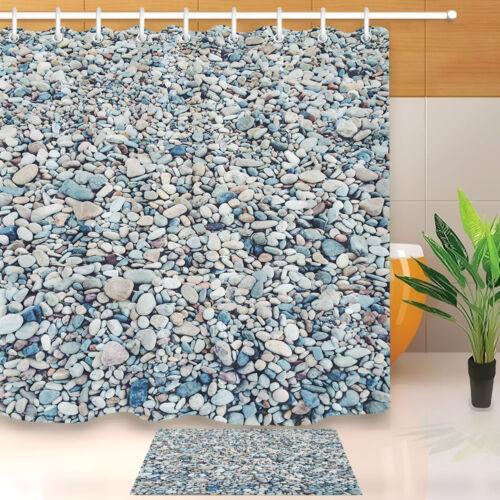 "Colorful River Bed Rocks Waterproof Fabric Bath Shower Curtain Hooks Set 60//72/"""