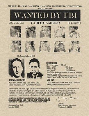 Lovely Carlo Gambino Wanted Poster Reproduction On 24 Lb Parchment Paper 8 X 10 Fashionable Patterns Collectibles