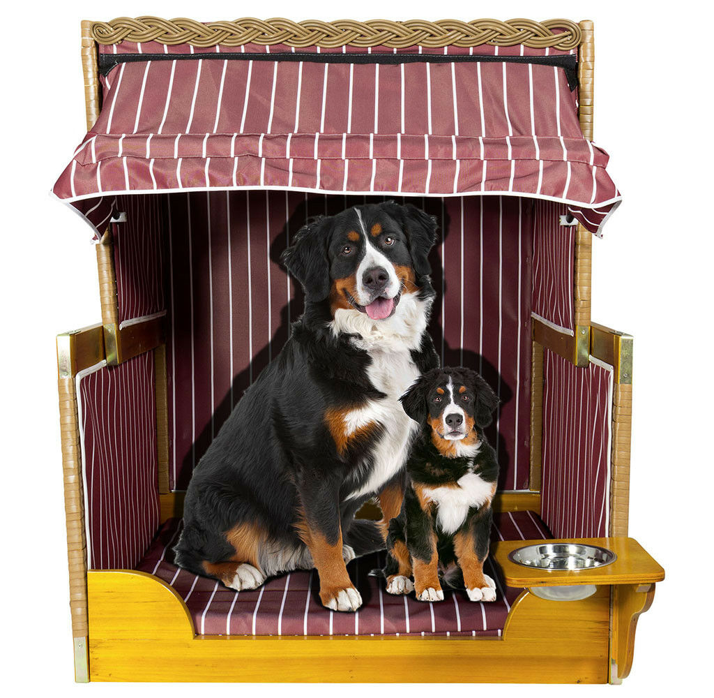 Luxus Hundestrandkorb Hundehütte burgund Hundebett Hundehöhle