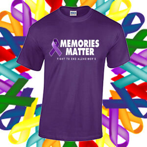 edaee82b177 Details about Alzheimer's Awareness Shirt Cancer Awareness Purple Ribbon  Memories T Shirt