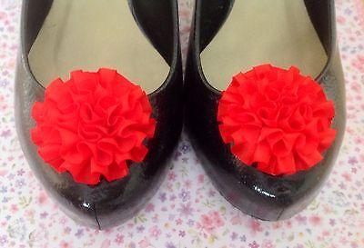 Nuevo par Rojo De Cinta De Raso Roseta Volado Flor Zapatos Clips 50s De Estilo Vintage