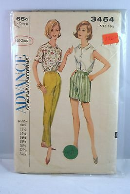 3454 ADVANCE SEW-EASY Patterns 12 1/2 - 24 1/2 Half Sizes Sports Blouse Pants