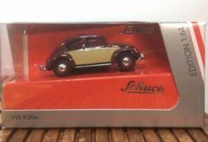 Schuco-VW-1-64-Kafer-Beetle-Burgundy-Beige