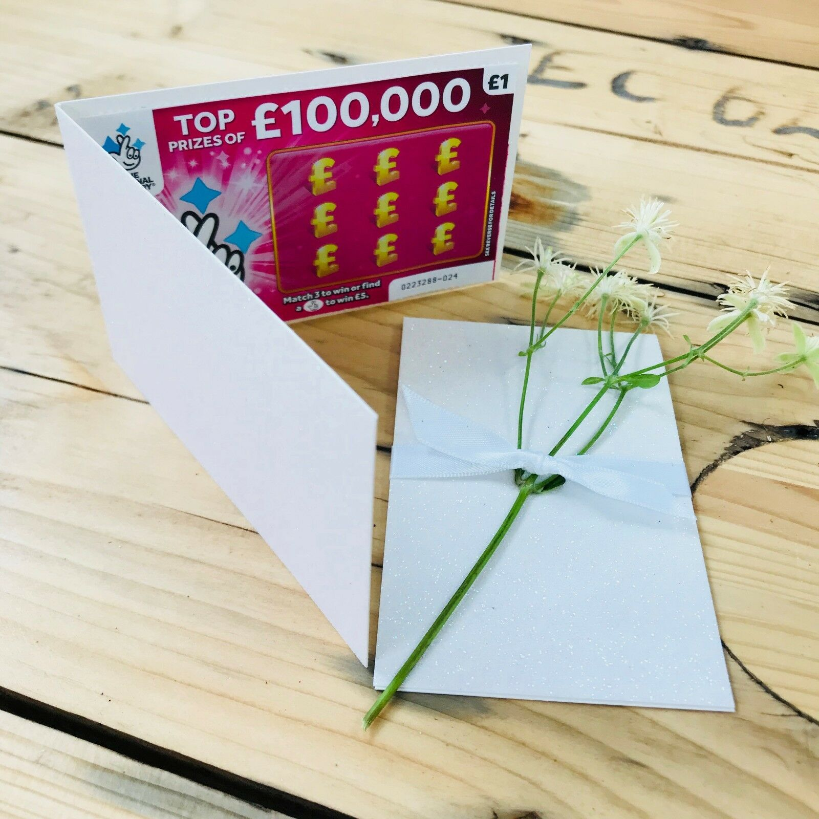Weiß Glitter Lottery, Wedding Favour Lotto Card Holder Scratch Card