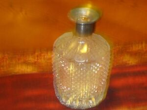 Silver-Plate-and-Crystal-Diamond-Shaped-Cut-Glass-Wine-Decanter-with-No-Lid