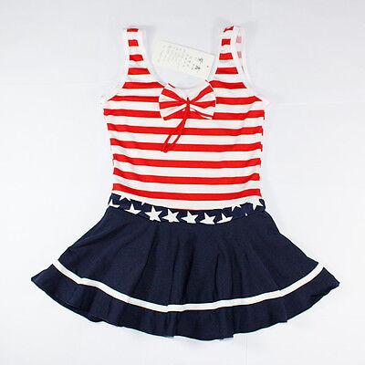 New Girl Navy style Swim suit Swimwear Swimming Costume beachwear 6-10 years