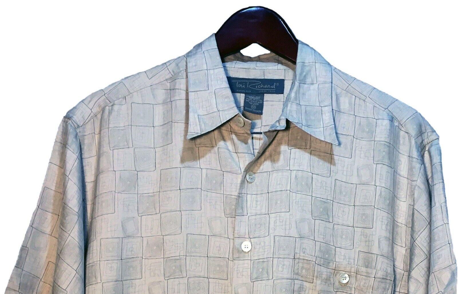 Tori Richard Multicolor Beige Geometric 100% Silk Hawaiian Shirt Men Size XL