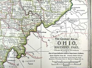 Original 1902 Map of Southern Ohio by The Century Company   eBay