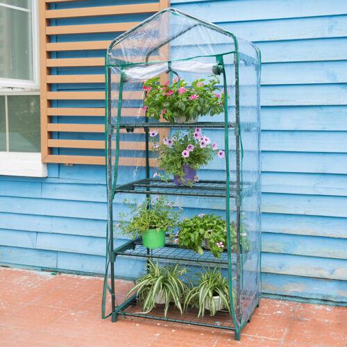 Walk-In Polytunnel Greenhouse PVC PE Cover Mesh Metal Garden Plants Grow Shelve