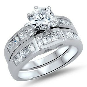 .925 Sterling Silver Engagement Wedding Promise Ring Set Round Cut Clear CZ NEW