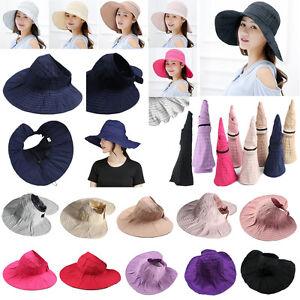 def02e6892c Women Hat Shade Packable Cap Travel Wide Brim Roll Up Beach Sun ...