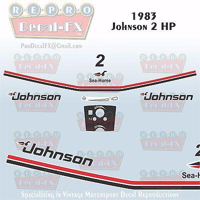 1983 Johnson 15 HP Outboard Reproduction 13 Piece Marine Vinyl Decal Sea-Horse