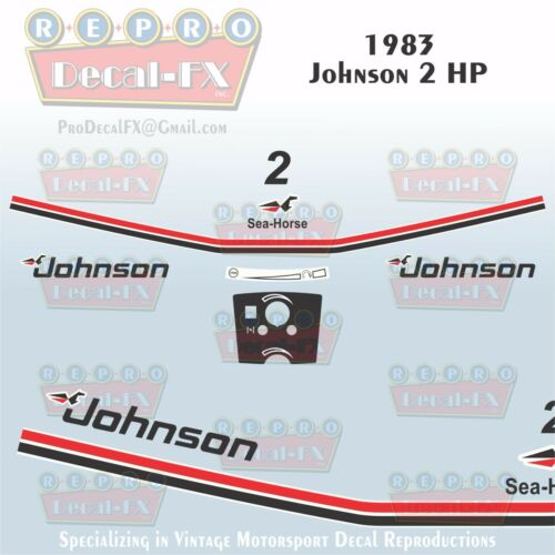 1986 Johnson 2 HP Sea-Horse Outboard Reproduction 10 Pc Marine Vinyl Decals