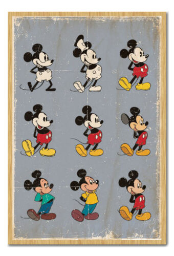 Choice Of Frame Colours Framed Mickey Mouse Evolution Poster Ready To Hang