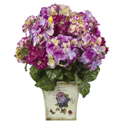 Beauty Hydrangea Silk w//Floral Planter by Nearly Natural