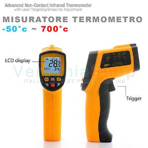 TERMOMETRO-PIROMETRO-LASER-DIGITALE-INFRAROSSI-MAX-700-C-MISURA-FONTI-CALORE