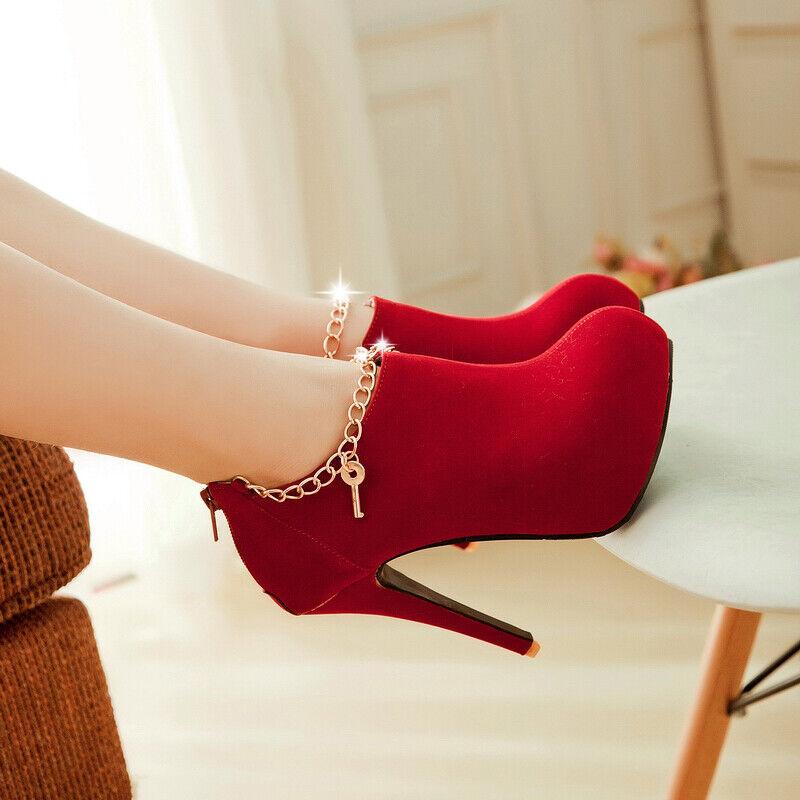 New Women Stilettos High Heel Round Toe Mental Chain Slip on Pumps shoes Banquet