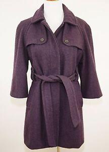 GAP-Purple-Wool-Blend-Pea-Coat-Jacket-w-Belt-3-4-Sleeves-Women-039-s-Medium