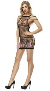 1da47ef971 Image is loading Sexy-Black-Net-Bodysuit-Babydoll-Nightgown-Sleepwear-Mini-