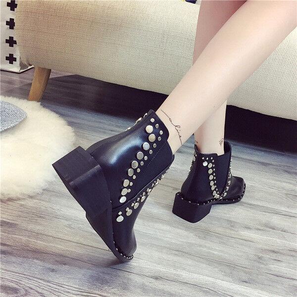 Stivali stivaletti bassi scarpe  anfibi 5 cm nero  scarpe eleganti simil pelle 9652 a4467f
