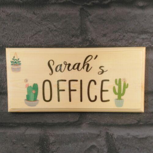 Personnalisé Bureau Signe cactus maman travail étude Bureau Décor Cabane de bureau en bois son